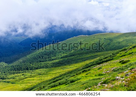 View from the top of Carpathian mountains, above the clouds. Chornogora ridge