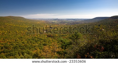View from the top of Hawk Mountain, Pennsylvania, USA. Colorful fall foliage. - stock photo
