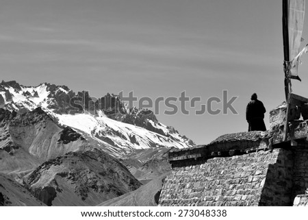 View from the top of Lamayuru gompa - buddhist monastery in Indus valley - Ladakh - Jamu and Kashmir - India - stock photo