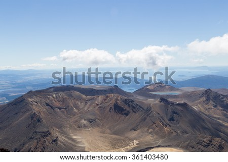 View from the top of Mount Ngauruhoe - stock photo