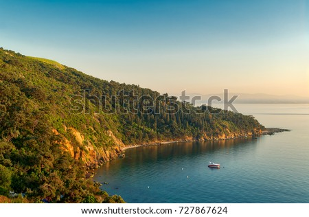 View from the top of mountains of Buyukada island, one of the Princess Islands (Adalar), Marmara Sea, Istanbul, Turkey, with green woods, calm sea, and clear sky at sunset time