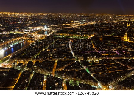 View from the top of the Eiffel tower in Paris, France