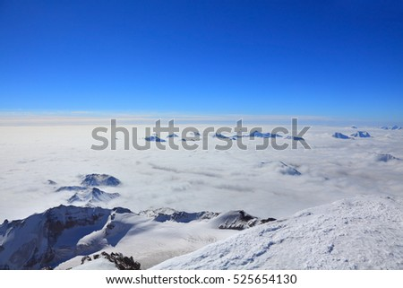 view from the top of the mount Kazbek
