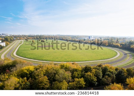 view from the top of the racecourse in Warsaw - stock photo