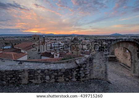 View from the top to the centre of medieval Trujillo town in Spain.