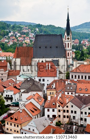 View from the tower of Cesky Krumlov - stock photo