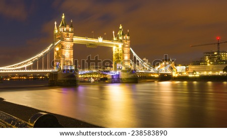 View from the tower of London on the tower bridge - stock photo