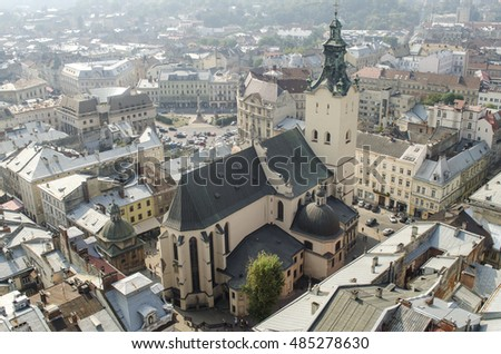 View from the Town Hall on the Latin Cathedral, Lviv, Ukraine