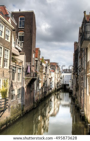 View from the Visbrug, one of the canals in the center of Dordrecht, Netherlands