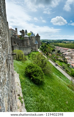 View from the wall of Carcassonne  fortress, Languedoc-Roussillon, France