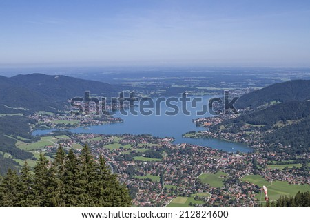 View from the Wallberg on the Lake Tegernsee - stock photo