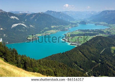 View from the zwolferhorn mountain on to the Wolfgangsee in Austria - stock photo