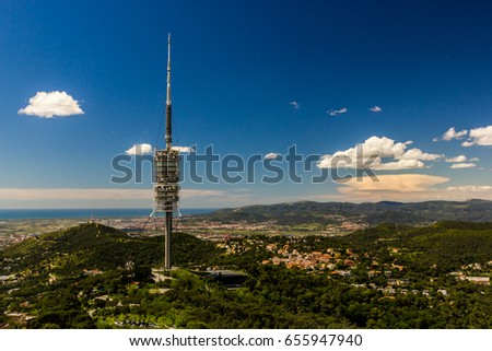 View from Tibidabo on landscape with tower in Barcelona,Spain