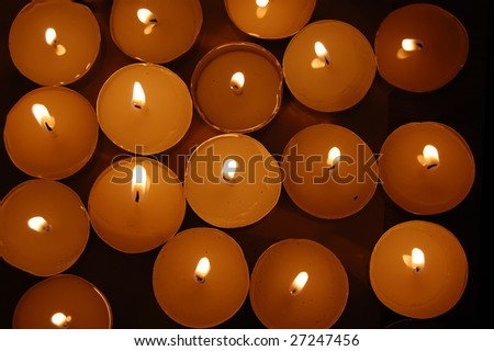 View from top at candles - stock photo