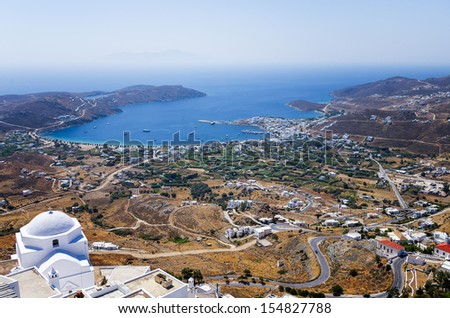 View from top of a hill, in Serifos island, Greece - stock photo