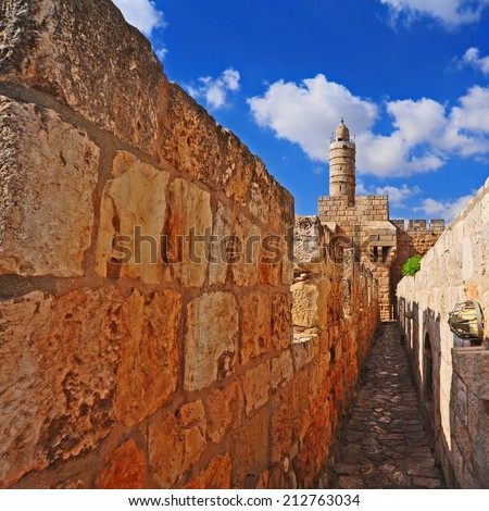 View from Top of Ancient Walls Surrounding Old City in Jerusalem, Instagram Effect - stock photo