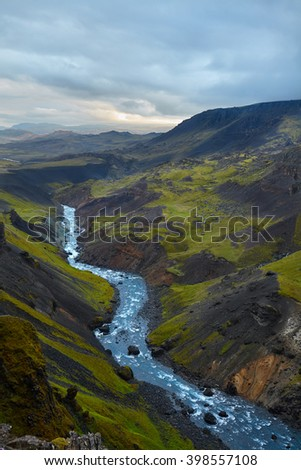 View from top of Haifoss waterfall on Iceland, overcast day - stock photo