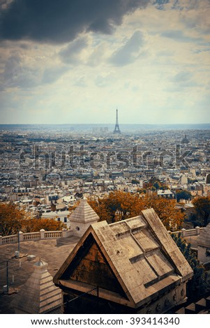 View from top of Sacre Coeur Cathedral with Eiffel Tower in Paris, France. - stock photo