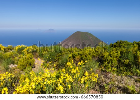 View from top of Salina island to Lipari archipelago, Sicily, Italy.