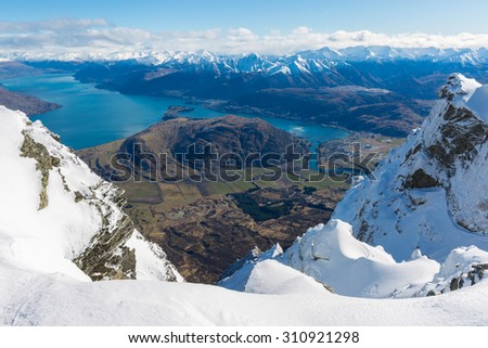 View from top of the Remarkbles Mountain, Queenstown, New Zealand - stock photo