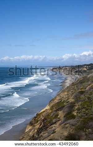 View from Top of Torrey Pines State Park in San Diego California - stock photo