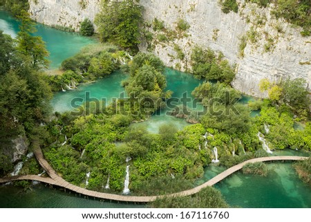 View from top on one of the most beautiful part of Plitvice National Park - stock photo