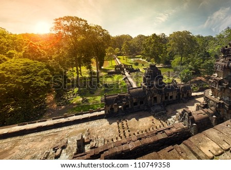 View from top on sunrise in Angkor Cambodia - stock photo