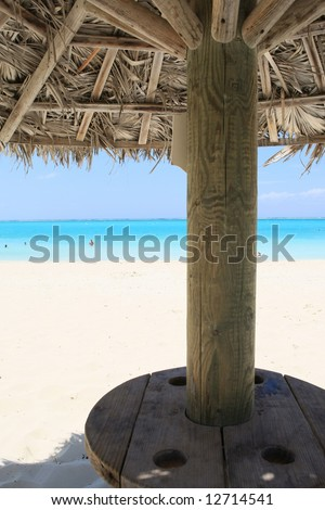 View from under a palapa - stock photo