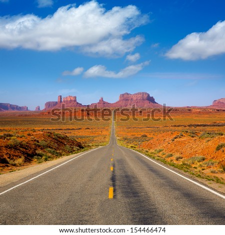 View from US 163 Scenic road to Monument Valley Park in Utah - stock photo