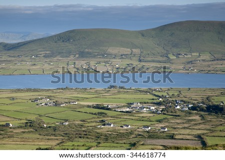 View from Valentia Island from Geokaum Mountain over Kerry Peninsula, Ireland