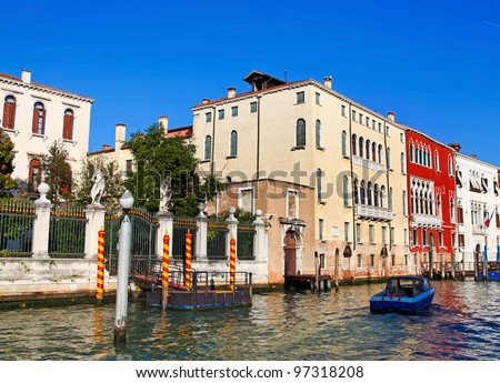 View from vaporetto to famous Grand Canal and architecture of Venice, Italy - stock photo