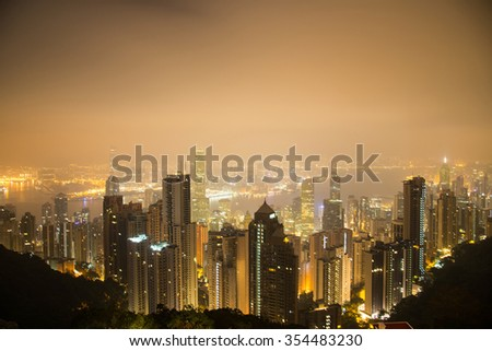 View from Victoria Peak to the business borough and the gulf in Hong Kong