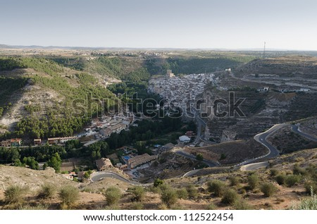 View from viewpoint of the town of Alcala del Jucar Spain