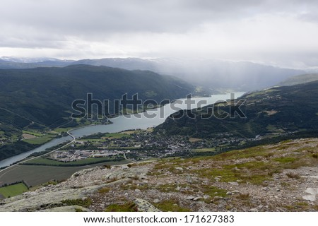 View from Vole paragliding site (Blahoe mountain, Vaga, Oppland, Norway). On the picture lake Vagavatnet