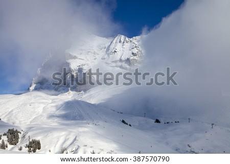 View from walk between Kleine Scheidegg and Wengen in Alps, Switzerland - stock photo