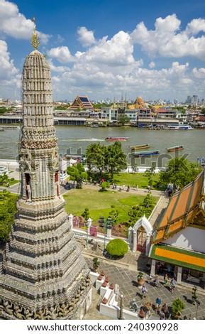 View from Wat Arun, Bangkok, Thailand - stock photo