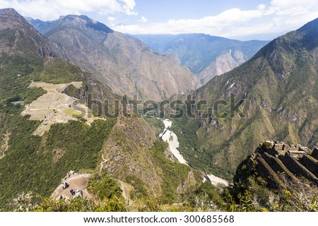 View from Waynapicchu to Machu Picchu, was designed Peruvian Historical Sanctuary in 1981 and a World Heritage Site by UNESCO in 1983. - stock photo
