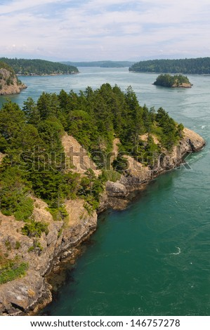 View from Whidbey island in Northern Washington - stock photo