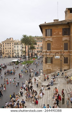 View from window of Keats-Shelley House, Rome, Europe, overlooking the Spanish Steps - stock photo