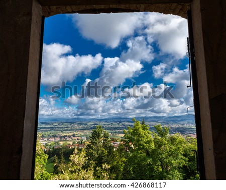 view from window on tuscany hills (Italy)