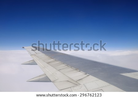 View from window seat of an airplane