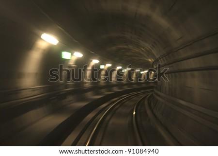 View from windscreen of Copenhagen subway train - stock photo