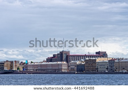 View fron Neva river to Kutuzov embankment on summer day, St. Petersburg, Russia.