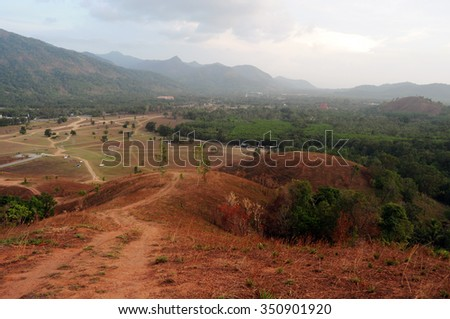 View Grass Hill from top, Ranong, Thailand - stock photo