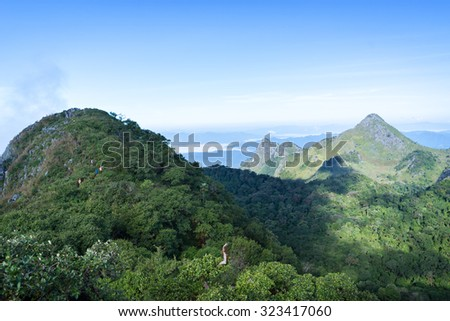 View Great mountains national park scenic Landscape seen from Doi Luang Chiang Dao, High mountain in Chiang Mai Province, Thailand.