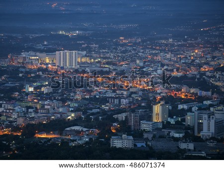 View Hatyai city, Songkhla Southern Thailand at night