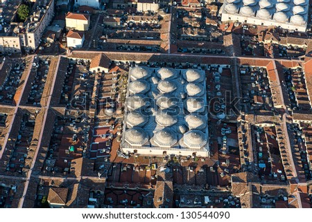 View helicopter, the Grand Bazaar. - stock photo