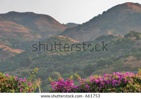 View if Sicily next to Mt. Etna - stock photo