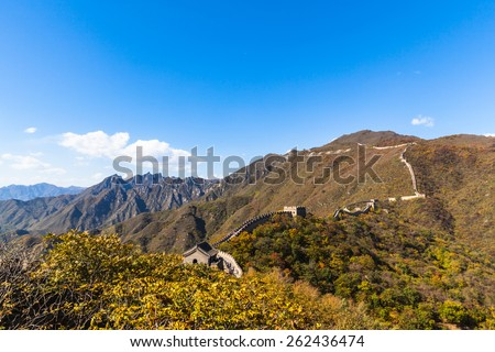 View in autumn. the great wall in Mutianyu, Beijing, China - stock photo