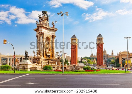 View in Barcelona on Placa De Espanya( Square of Spain),Spain. - stock photo